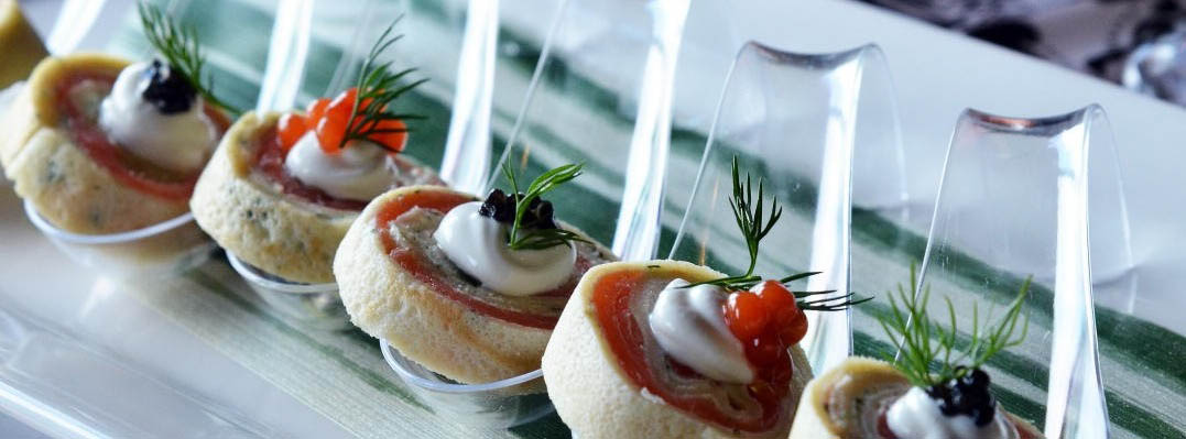 salmon and caviar pinwheels