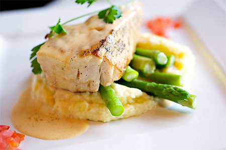 sea bass -risotto-asparagus
