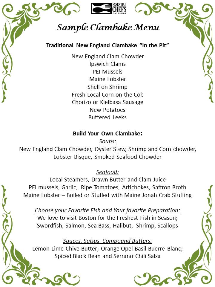 clambake menu sample